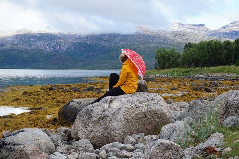2017 - mit Schirm, Charme und gelbem Regenmantel unterwegs in Norwegen